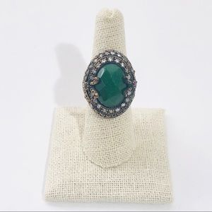 Sterling Silver Turkish Design CZ Glass Ring 8 NEW